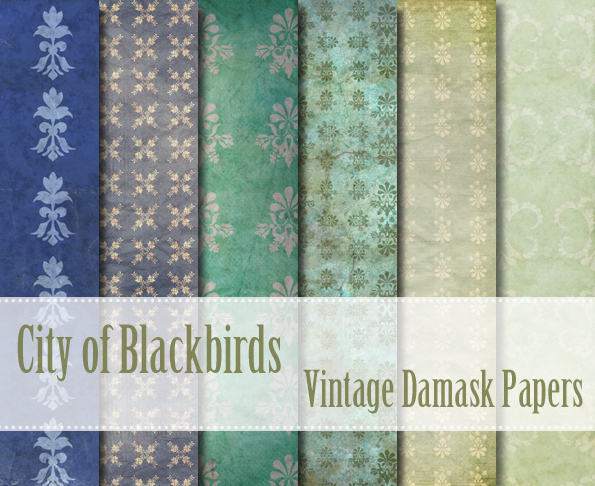 City of Blackbirds Vintage Damask Papers