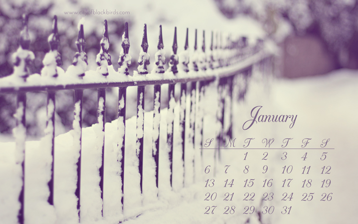 January Desktop Calendar | City of Blackbirds